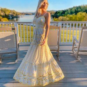 Lily Pulitzer yellow and white eyelet maxi dress